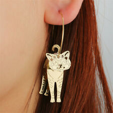Pendant Pearl Hook Drop Dangle Earrings Woman Fashion Gold Circle Geometric Cat