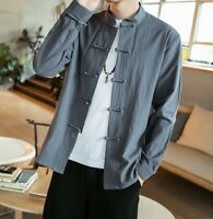 Men's Slim Collar Linen Shirt Retro Chinese Style Cotton And Linen Solid Color
