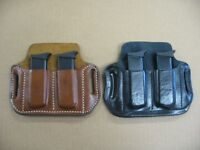 Azula Leather OWB 2 Slot Pancake Belt Dual Mag Clip Pouch .Choose Gun & Color -A
