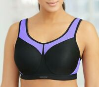 Glamorise High-Impact SPORT Bra 40DD (Seamless-2-Layer-Cups) UNDERWIRE Black NEW