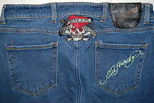 Ed Hardy Denim Jeans By Christian Audigier Sz 34 Skull  Love Kills Slowly Men's