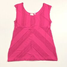 Anthropologie Postmark Women's Top Pleated Chevron Scoop Neck Pink Medium Blouse
