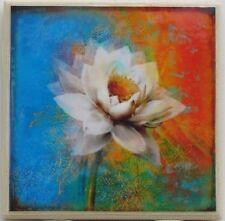 New listing Set of 4 - Handmade Natural Stone Ceramic Tile Drink Coasters - Flower 1 - B