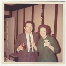 Square Vintage 60s PHOTO Couple Wedding Guests w/ Drinks at Reception Gathering