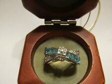 Aquamarine 925 Sterling Silver Crossover w/ CZ Ring Jewelry New Sz 9