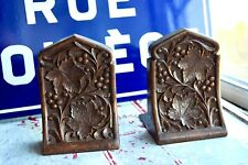 VINTAGE CARVED WOODEN VINERY BOOKENDS - WOODEN BOOKENDS - VINERY WOOD CARVING