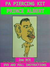 PRINCE ALBERT 2mm PA  BODY PIERCING KIT+ DVD, PROFESSIONAL QUALITY INSTRUCTIONS