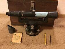 Antique Surveyor Scope with Original Handmade Wooden Box. Full Kit. Eagle Level.