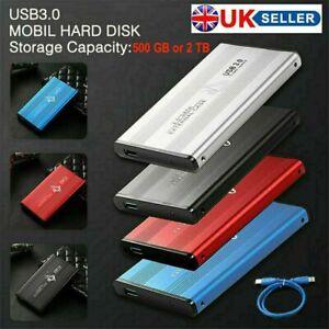 "USB 3.0 2.5"" Hard Disc Drive in External Case 500GB or 2TB, Ready to Go *BNIB"