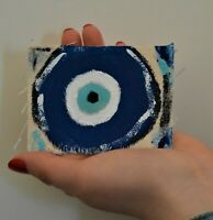 Original ACEO abstract painting superstition Greek Evil Eye Superstition/Greek