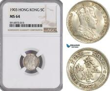 AG058, Hong Kong, Edward VII, 5 Cents 1903, Silver, NGC MS64