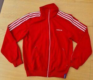 Vintage Retro Adidas Red Ribbed Jacket Size Medium