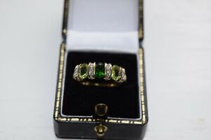 9ct Yellow Gold Band With 3 Green Stones and Small Diamonds Inbetween
