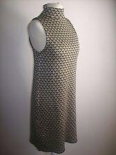 ZARA GOLD BLACK 60'S STYLE JACQUARD  DRESS SIZE M REF 6771 121