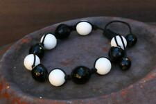 Agate Bracelet Black & White Macrame Cotton 18cm New Jewellery Free Shipping