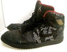 Nike Air Jordan I Shoes Trashed Used Mens 11 Black Red Bred Numbers