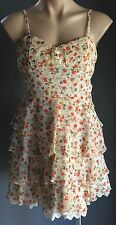 Gorgeous FOREVER EBONY Multi Colour Floral Print Sleeveless Tier Dress Size10