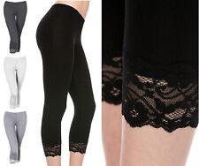 Women's Basic Cotton Blend Lace Trim Solid Capri Leggings S-3XXL