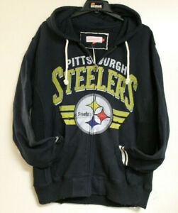Mitchell & Ness Mens Pittsburgh Steelers Navy Hoodie Size L