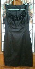 White House Black Market Ruffle Front Black Sheath Cocktail Shimmer Dress-Size 2