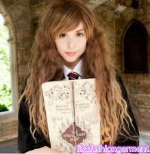 Hermione granger corn thermal long brown mix wavy anime wigs