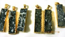 1x40mm slate color natural agate druzy gemstone pendant brass combine post