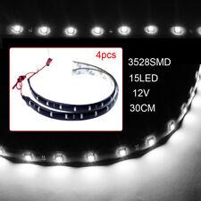 4pcs 12V 30cm 15LED 3528 SMD Waterproof Car Auto Flexible Strip Lights Lamp Deco