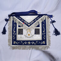 Masonic Past Master Navy Blue Apron Hand Embroidered Silver TAU & Silk Cord -WLC