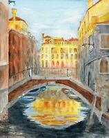 """Sunrise"" ORIGINAL signed watercolor painting Italy Venice bridge palazzo street"
