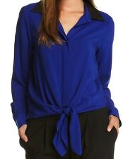 Karen Kane ROYAL Blue Blouse w/Black Faux Leather Contrast Collar, XS -  $118