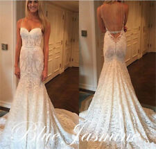 New Sexy Lace Sheath Mermaid Wedding Dress Bridal Gown Custom Made Plus Size2-28