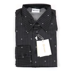 NWT BRIONI Black White Dollar Sign Striped Silk L/S Button Up Dress Shirt L