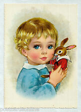 S0254cgt Cute Girl with rabbit Kruger vintage postcard