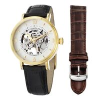 Stuhrling 647 Men's Automatic Skeleton Dress Watch Set with Additional Strap