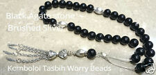 Tasbeeh Komboloi Worry Beads Black Agate 10mm on Threaded Sterling Silver Chain