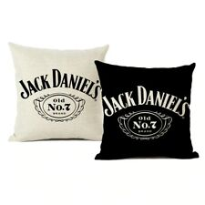 Pillow Cover Black White Jack Daniels Floor Throw Pillow Case Linen Luxury Print