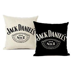 Pillow Cover Black White Jack Daniels Floor Throw Pillow Case Linen Luxury Print