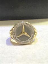 RETAIL $5,000 La Triomphe 18K White Yellow Gold Mercedes Benz Logo Diamond Ring