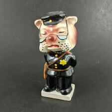 Vintage Ceramic Bobblehead Nodder Bulldog Dog Police Officer Detective Security