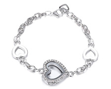 Exclusive 2018 Living Memory Crystal Heart Locket Bracelet For CHARMS Bride Girl