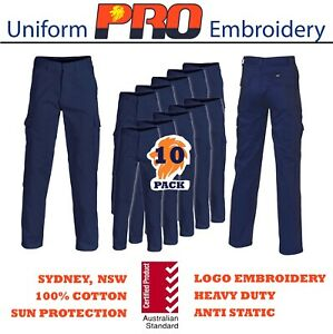 10 Pack Cargo pants 100%Cotton Drill Heavy Duty 8 pockets Pro 1101 Embroidery