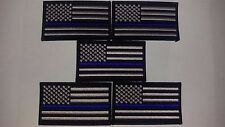 thin blue line flag patches 5 SWAT subdued police law enforcement  3.5x2