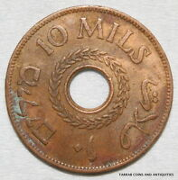 PALESTINE, BRITISH MANDATE BRONZE 10 MILS 1942 COIN; NICE RED AND BROWN SURFACES
