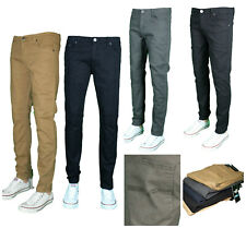 Men's Fashion Casual SLIM FIT STRETCH Chino Trouser Pants Flat Front Size 30-40