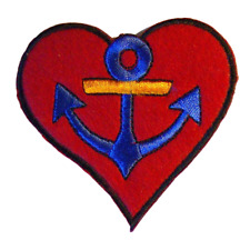 Sailor Anchor Heart Iron On Embroidered Patch - Fancy Dress - Pack of 4