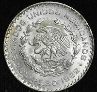 Mexico 1 Peso 1962 UNC BU silver KM#459 1P Estados Unidos Mexicanos Eagle