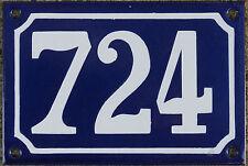 Blue French house number 724 door gate plate plaque enamel steel metal sign