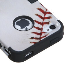 for iPhone 4 4G 4S -White Baseball MLB Dual Layer Hard & Soft Rubber Hybrid Case