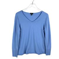 Talbots V-Neck Merino Wool Sweater Plus Size 1X Blue Long Sleeve Knit Pullover