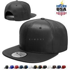 Leather Snapback Hat Hip Hop Baseball Cap Trucker Mesh Solid Plain Flat Bill Men